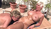 Free Version - This horny blonde granny licks her pussy to the housekeeper on the balcony