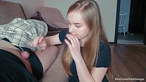 Naughty daughter decided to secretly suck daddy's cock while he sleeps, making a deep throat