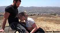 Hiking in LA gets Wild when a Hot Blonde Slut gets Naked and Fucks Outdoors! She Swallows every drop of Hot Cum!!