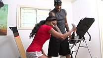 Black teen gets fucked by her fitness instructor