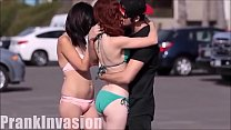 Kissing and groping gorgeous girls