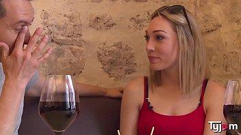 Blonde Goddess Lily Labeau taste some wine an a big hard cock
