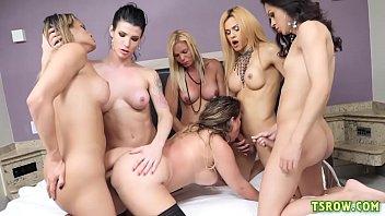 5 horny shemales gangbang poor girl