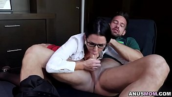 Veronica invited Johnnys boner in her tight asshole and squirt all over her office