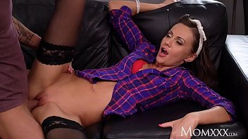 MOM Brunette MILF Tina Kay sensual blowjob and reverse cowgirl