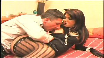 Gorbeous brunette tranny girl fuck and ride big mature cock