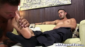 Gorgeous businessman receives a sensational feet licking