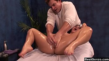 BestGonzo - Teen is slippery wet after erotic oil massage.