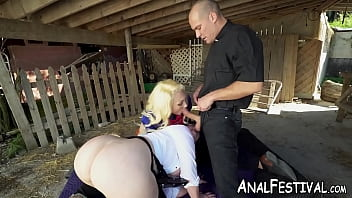 Big booty cowgirl babes share ranchers big cock in FFM