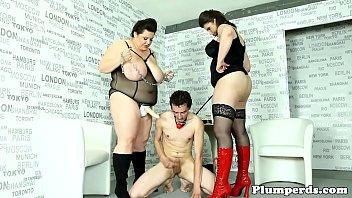 Chubby femdoms pegging sub in plumper trio