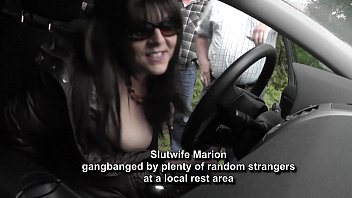 Hot wife gangbanged by random strangers at a rest area