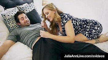 Step Mother Julia Ann Mouth Fucks Step Son's Cock!