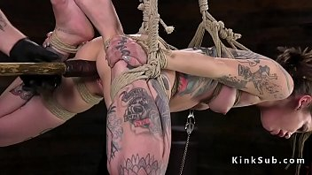 Hogtied and suspended alt slave toyed