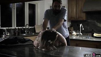 Curvy teen fucks her fathers best friend in the kitchen