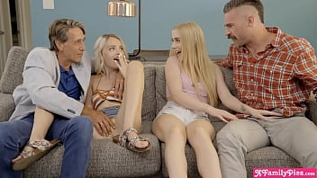 Stepdads swapping their two petite blonde teen stepdaughters