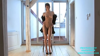 Skinny long legged fashion and BDSM model Candy tied up and whipped
