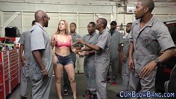 Redheaded slut gang bang